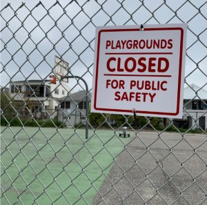 A local playground and basketball court a few blocks from my house was closed as a result of the Coronavirus. This is happening in public parks all over Long Beach in an effort to limit areas where large gatherings of people can occur.