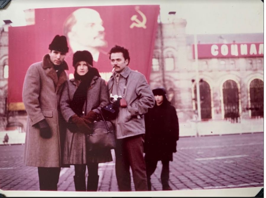 """Don Ritter (far left) visiting the USSR in 1966, with his wife Edie and a local acquaintance.  Note the """"red"""" poster of Lenin."""